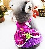 Vestito da cane, vestito di linguetta Costume di Natale di Hallowmas Nuovo anno animale domestico Piccolo cane Gonna Tutore petto vestito siamese Taglia 5 ( Color : Rose Red , Size : XL )