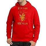 lepni.me N4690H Kapuzenpullover Born to Ride! Motorcycle Clothing (Large Rot Mehrfarben)