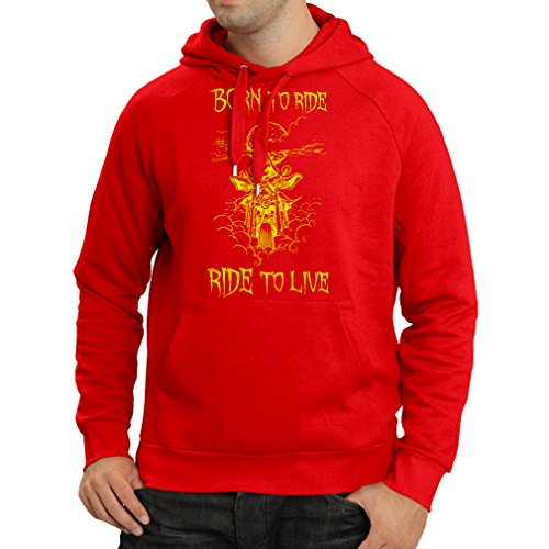 N4690H Felpa con Cappuccio Born To Ride! Motorcycle Clothing (XX-Large Rosso