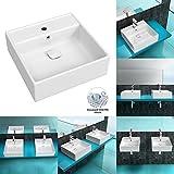 BTH: 460x460x155 mm | Korpusbad® Aufsatzwaschbecken München101N aus Keramik | inkl. NANO PRO Oberflächenversiegelung | mit Überlauffunktion | Waschbecken Waschtisch Waschplatz Handwaschbecken