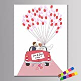 Personalisierte Fingerabdruck Gemälde Leinwanddrucke - Hochzeit Auto (inkl. 12 Tinte FColors), Custom, 40*60cm