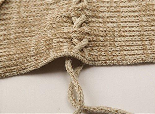 Maglione Donna Invernale Cappotti e Mantella Cardigan a Pipistrello Giacca Ecopelliccia Collo Cappotto Poncho Blazer Outwear per Taglia S-XL – Landove Beige