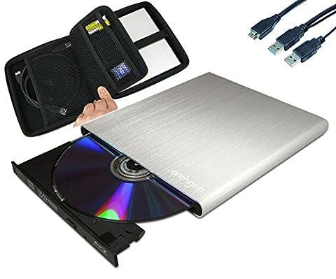 Archgon® MD-8107S-U3+UJ272(S) Style Silber & EVA Case Schutzhülle Sleeve Externer Blu Ray M-Disc DVD CD Brenner Player Lesegerät (Panasonic UJ-272) mit USB 3.0 - gebürsteten Vollmetall Aluminum Flachrohr Gehäuse - kompatibel mit PC und Mac Macbook Pro, Air, (Blue Ray Player Silber)