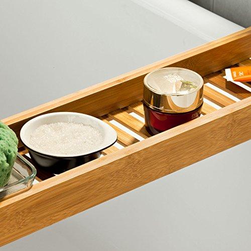 SoBuy® Ripiano per vasca da bagno in bambù,Scaffale da bagno, Set ...