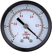 TOOGOO 0 ~ -30inHg 0 ~ -1bar Mini Esfera Monitor de presion de vacio de Aire Manometro Calibre de presion Manometro de vacio Doble Escala Negro