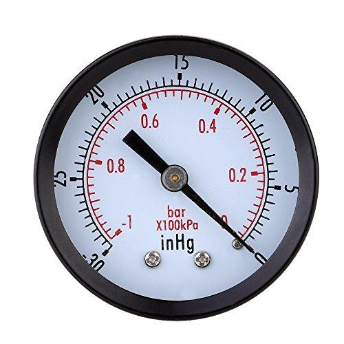 SODIAL(R) 0 ~ -30inHg 0 ~ -1bar Mini Dial Air Vacuum Druckmessgeraet Manometer Druck Gage Vakuum Manometer Doppelskala Schwarz