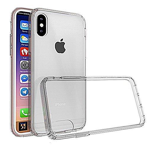 Custodia iPhone, Ferlinso Case TPU Protettiva Crystal Hybrid Cover con [Pellicola Protettiva] Trasparente Clear copertura posteriore PC rigida per Apple iPhone (Nero) Trasparente