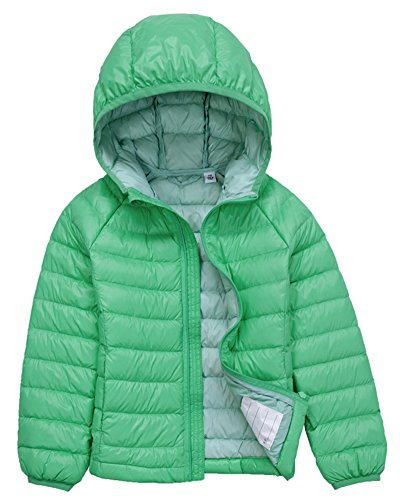 Bambino giacche packable di piuma leggero giacca piumino giubbotti inverno cappotti con cappuccio per ragazzo ragazza verde chiaro 130