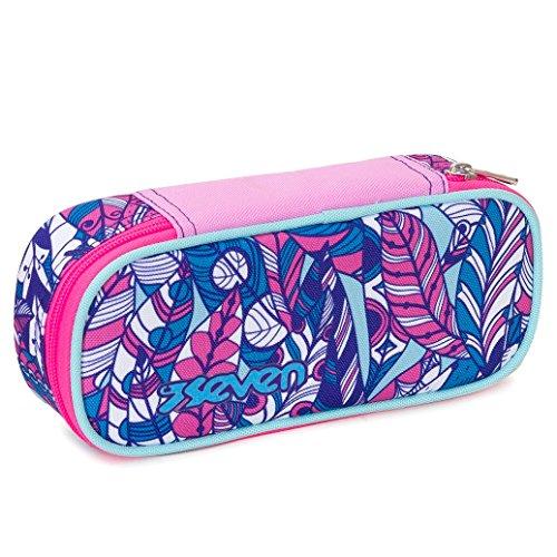 Bustina round plus seven , butterfly , rosa viola , scomparto attrezzato per penne