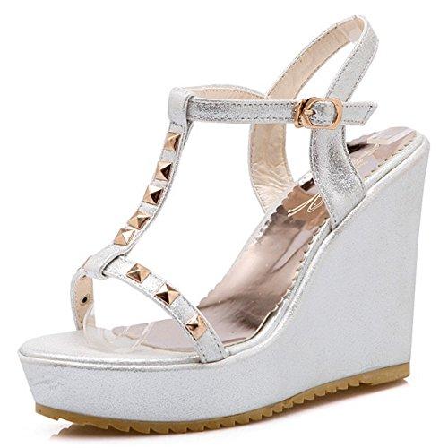 COOLCEPT Femmes Mode T-Strap Sandales Orteil ouvert Slingback Compenses Chaussures Argent