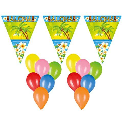 Karneval-Klamotten Deko Set Wimpelketten, Luftballons Hawaii Sommer Aloha 22 tlg. Wimpelkette/Girlande, Absperrband, Ballons