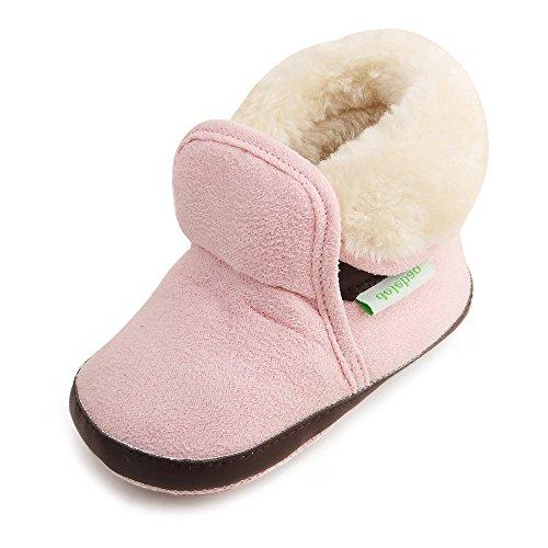 Delebao scarpe neonato stivaletti bambina invernali suola morbida scarpe bimba con pelo calzature per bambini ragazzi e ragazza (marrone&rosa,0-6 mesi)