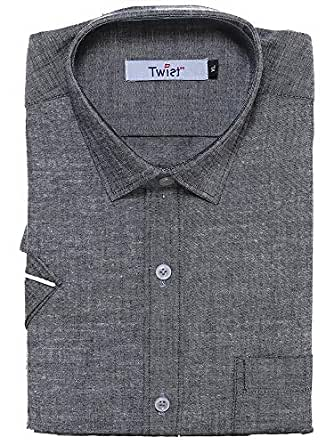 Twist99 Men's Casual Linen Shirt for Mens - Half Sleeves Shirts for Men - Short Sleeve Shirts for Men - Regular fit Shirts for Men