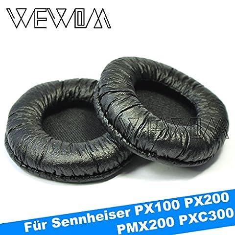 WEWOM 2 Hochwertige Ersatz Ohrpolster für Sennheiser PX100 PX200 PMX200 PXC300 Kopfhörer Schwarz