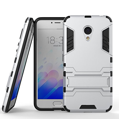 Meilan3 Case, 2 In 1 Neue Armour Tough Style Hybrid Dual Layer Rüstung Defender PC Hartschalen Mit Standfuß Shockproof Case ​​Für Meizu Meilan 3 ( Color : Blue Black , Size : Meilan3 ) Silver