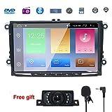 9' Reproductor Multimedia DVD 2 Din GPS Navegador Android 8.1 Quad Core con WIFI Bluetooth Control Volante para Coche Vehículo VW/Volkswagen/Passat/GOLF/Skoda/Seat 2GB RAM 16G Flash