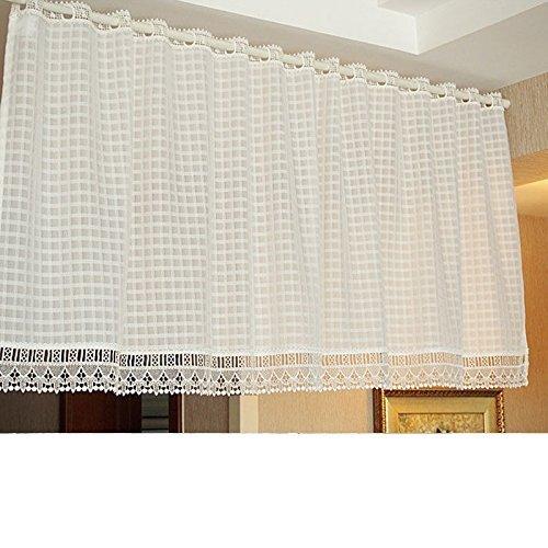olizee Elegantes Weiß Spitze Küche Vorhang Sheer Vorhang Hälfte Vorhang für Fenster/Tür, Spitze, weiß, 59