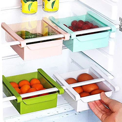 Kühlschrank Organizer Box, Aufbewahrungsbox Küche, Schubladen Küchen Organizer Halter, Platzsparender Organizer (Rosa)