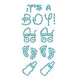 Oblique-Unique Konfetti Its a Boy Strass Steine Türkis Junge Fläschchen Sticker Zum Verzieren Aufkleben Einkleben von Karten Geschenken - Geburt Baby Shower Taufe