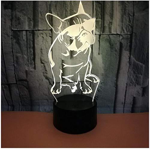 Nachtlicht Französische Bulldogge Mit Sonnenbrille 3D Led Nachtlicht Hundeschlaf Beleuchtung 7 Farbwechsel Stimmung Lampe Geschenk Für Hundeliebhaber