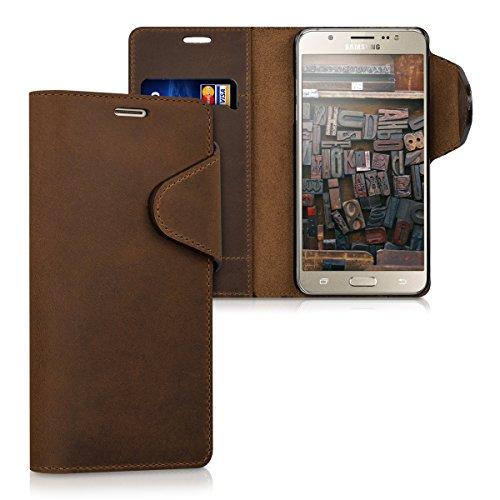 kalibri-Echtleder-Wallet-Hlle-fr-Samsung-Galaxy-J5-Version-2016-Case-mit-Fach-und-Stnder-in-Braun