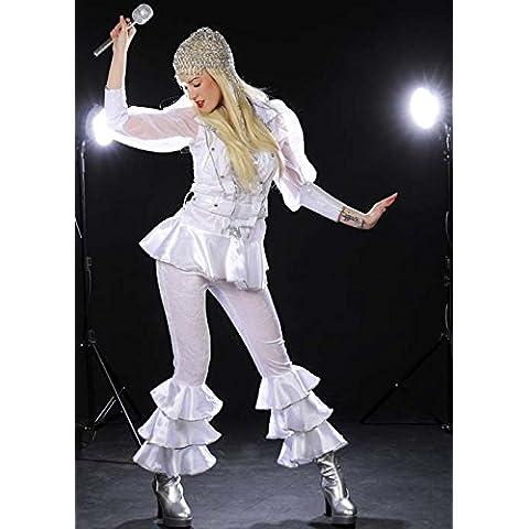Womens 70s Deluxe Abba blanco estilo traje UK14 EU40