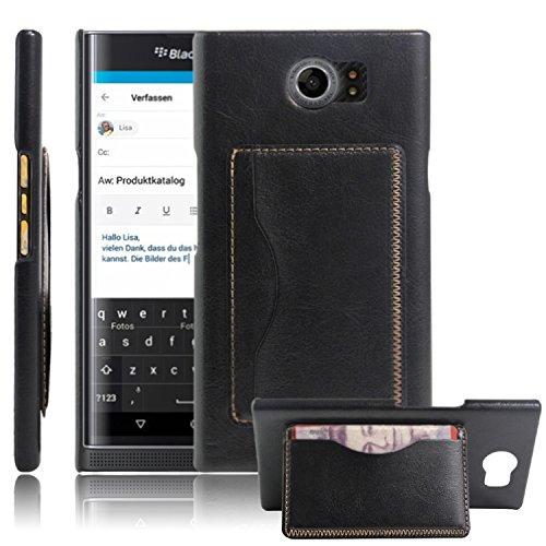hualubro Blackberry Priv Cases, [Kickstand]–Funda tipo cartera de piel sintética funda con soporte y tarjetero para Blackberry Priv Smartphone, hombre mujer Infantil, HL-BlackBerryPriv-Wallet, Flip Black