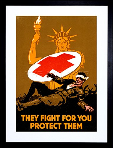 9x7-ad-military-war-medical-red-cross-statue-liberty-framed-art-print-f97x924