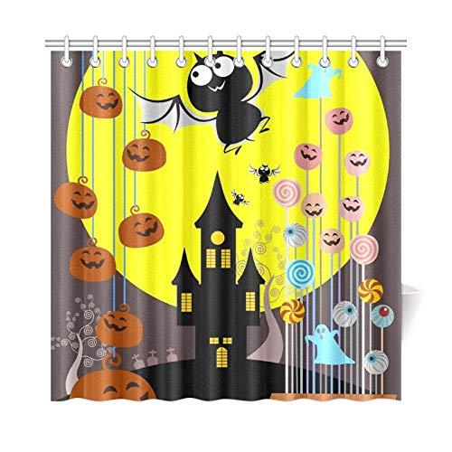 ad Vorhang Halloween Candy Bucket Trick Treat Konzept Polyester Stoff Wasserdicht Duschvorhang Für Badezimmer, 72X72 Zoll Duschvorhang Haken Enthalten ()