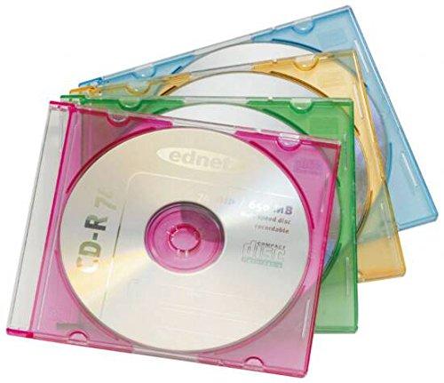 ednet Farbige CD/DVD Slim Case Leerhüllen, 20er-Pack (Slim Dvd-hüllen Farbig)
