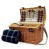 Vimini da picnic basket 'Hadleigh' Ingredienti per 4 persone di accessori e tradizionale coperta da picnic verde - regalo perfetto per l'anniversario, matrimonio, la pensione