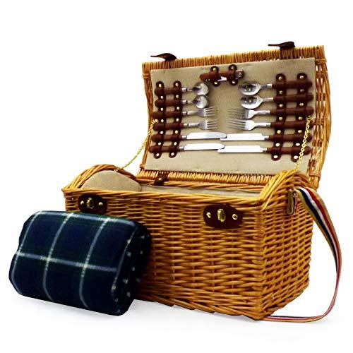 Weiden Picknickkorb 'Hadleigh' Für 4 Personen Mit Zubehör Und Traditioneller Grünen Picknickdecke - Perfektes Geschenk Zum Jubiläum, Hochzeit, Ruhestand