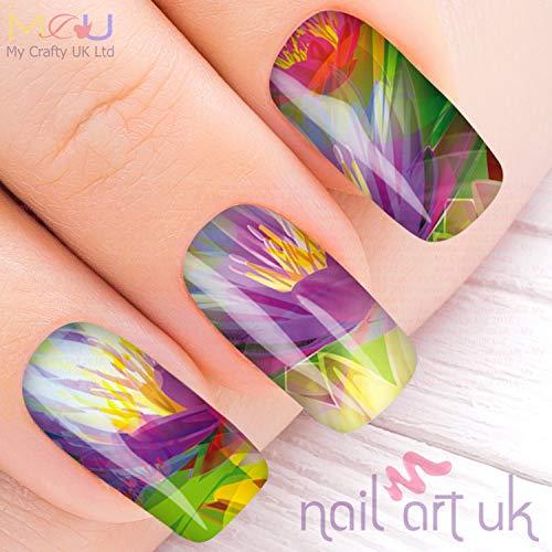 Vivid Purple Flower Water Decal Nail Art Stickers, Decals, Tattoos (Purple Flower Tattoo)