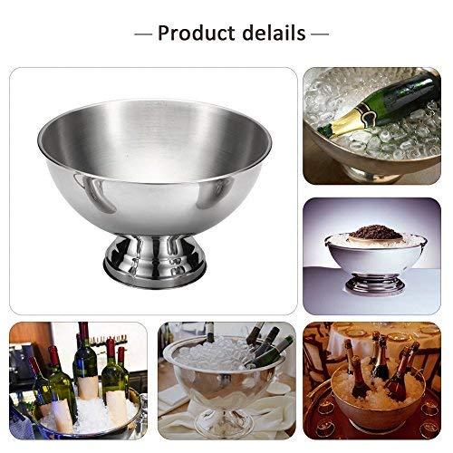 Eisschale aus Edelstahl, Stange für Bierzapf, Champagnerwein, großer Eiseimer silberfarben - Große Schüssel Kronleuchter