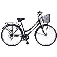 """Professional Woodland Bici da donna, 19"""", telaio ibrido, 6 velocità, ruota 700C, con cestino anteriore a rete"""