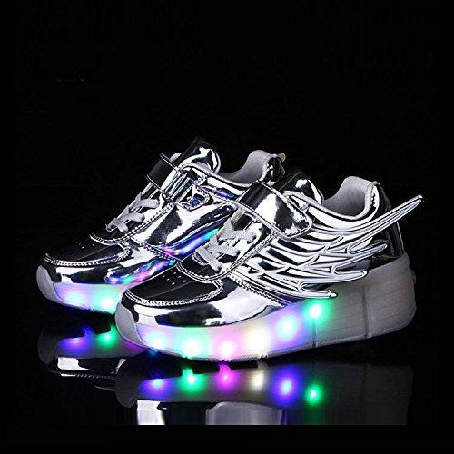 FZUU New 2017 Kind Jazzy Junior Mädchen Jungen LED Licht Roller Skate casual Schuhe für Kinder Kinder leuchtende Turnschuhe mit Rädern Silber