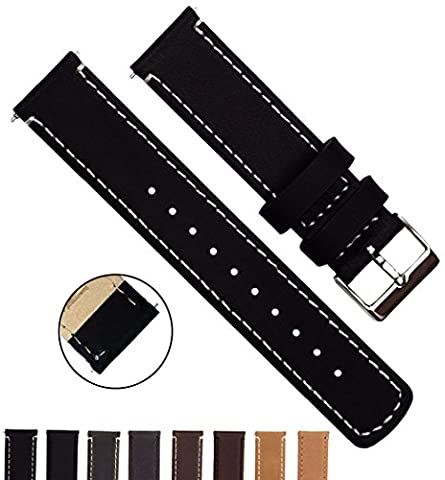 BARTON Quick Release Top Grain Leather Watch Straps - Choose Colour & Width (18mm, 20mm or 22mm) - Black/Linen 18mm Watch