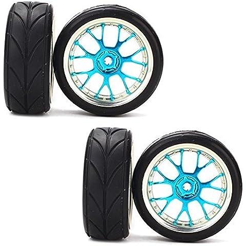 DN RC 1:10 Flat Racing Car Y forma Neumáticos Hub Llanta Flecha Cereales (paquete de 4) - Azul