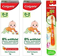 Colgate Toothpaste for Kids (0-2 Years) Natural Fruit Flavour, 0% Artificial - 70 g (Pack of 2) with Kid's