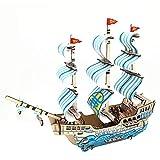 JLCP Puzzle di Legno 3D, Modello stereoscopico della Barca a Vela DIY Puzzle del mestiere del Taglio del Laser Auto-Assemblea del Giocattolo educativo del Bambino Regali di Festival Riuniti a Mano