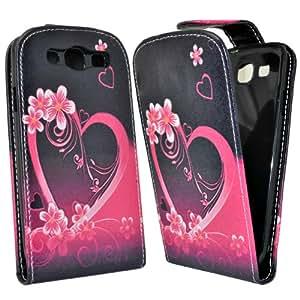 Accessory Master Coque en cuir pour Samsung Galaxy S3 i9300 Violet coeur Fleur