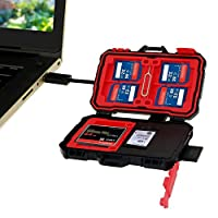 Philonext Memory Card Reader & Case, 20 Slots Card Holder Case USB/Micro USB/USB-C Hub Anti-Shock Water-Resistant 2 in 1 Storage Card Reader Box & Case for OTG Android Smartphone & Computers