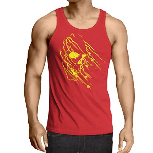 N4686V Weste Art Skull - Vintage t Shirts (XX-Large Rot Mehrfarben)