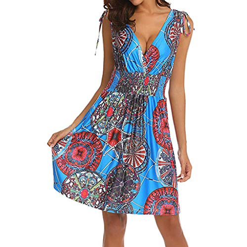 OIKAY Sommerkleid Damen Tunika Tshirt Kleid Bluse Kurzarm MiniKleid Frauen Sleeveless Low Cut V-Ausschnitt Backless Boho Printed Short Sun Kleid