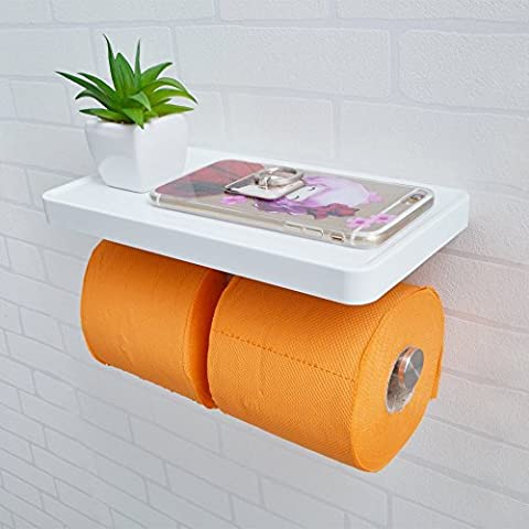 KES Bathroom Toilet Paper Double Roll Holder with Storage Shelf Organizer Brushed SUS 304 Stainless Steel and White ABS,