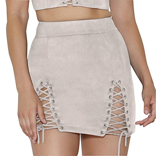 Mujeres Vintage Mini Falda Slim Seamless Stretch Tight Bodycon Skirt  Albaricoque XL b1900bd2f03