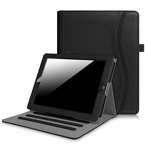 Fintie Hülle für iPad 2 / iPad 3 / iPad 4 - [Eckenschutz] Multi-Winkel Betrachtung Folio Stand Schutzhülle Cover Case mit Dokumentschlitze, Auto Schlaf/Wach Funktion, Schwarz