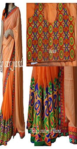 Sunshine Fashion Georgette Saree With Blouse Piece (Sunsa1931_Orange_Free Size)