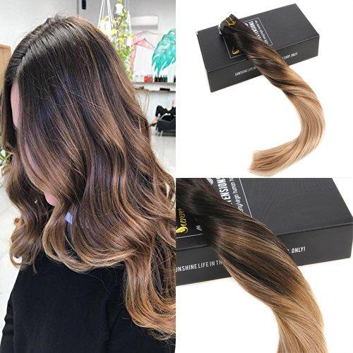 Sunny extension biadesivo nero a marrone e marrone di cenere #1b/10/18 tape capelli veri adesive 50g/20pcs skin weft hair extension lisci naturali 18 pollice