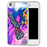 iPhone 5S 5SE Fall, Schmalem Flexibles Design Nebel Elefant Bedruckt stoßsicheren Soft TPU und Gummi Schutzhülle für iPhone 5s 5se-Clear, Marble Hummingbird